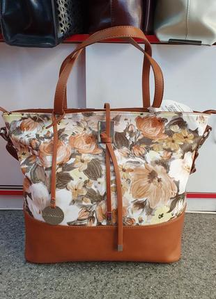 Вместительная женская сумка с цветочным принтом/городская сумк...
