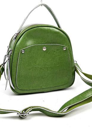 Кожаная сумка рюкзак зеленого цвета 2в1 guecca