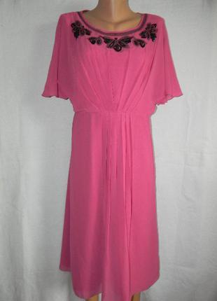 Нежное шифоновое платье с вышивкой бисером