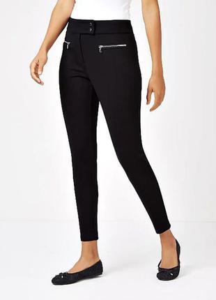 Стильные брюки с молниями из качественной ткани понте р.18