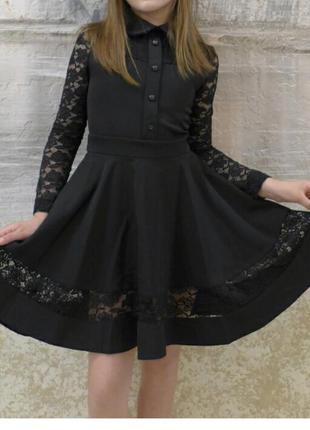 Очень красивое школьное платье с кружевным рукавом 30-40