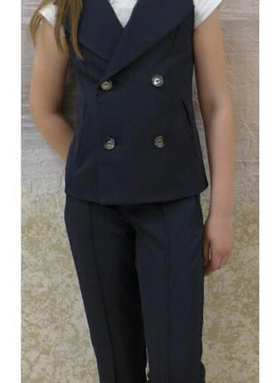 Стильный школьный костюм брюки и жилет для девочки, 30-40