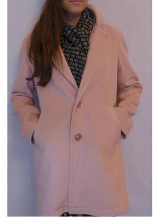 Пальто кашемир подростковое пудра,синий на рост 128-152