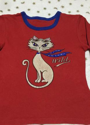 Красный реглан от tammy c  блестящей кошечкой для девочки + ст...