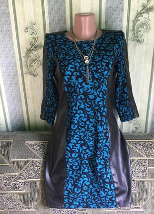 Красивое нарядное платье с  вставками эко-кожи,46 р     раз од...
