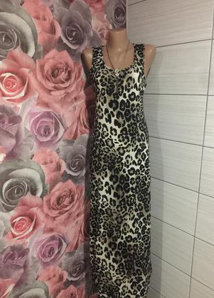 Леопардовое  платье в пол от bloose,размер м-л