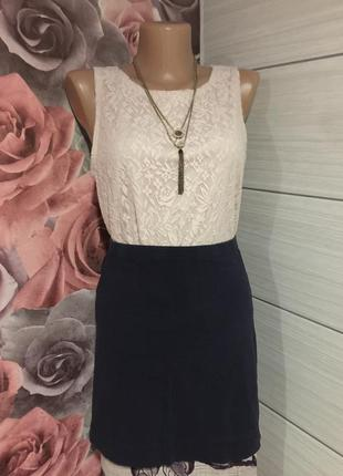 Базовая синяя трикотажная юбка мини,  от h&m