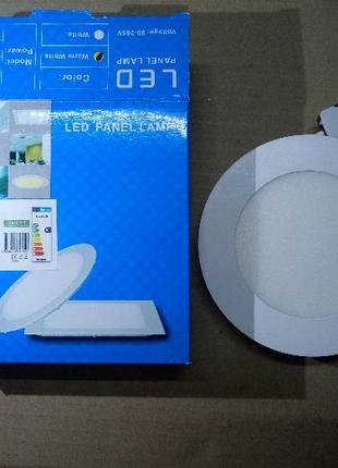 Светильник панель светодиодная встраиваемая 6 Вт диам 120 мм