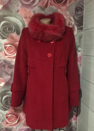 Кашемировое бордовое пальто с мехом песца ,44!идеальное!