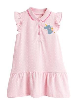 Платье-поло для девочки, розовое. мечтательный единорог.