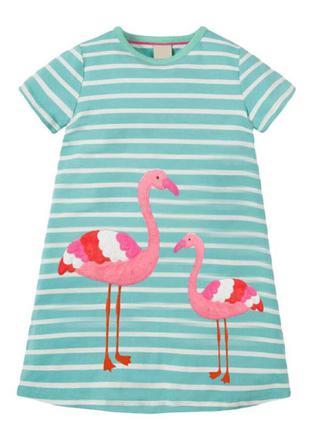 Платье для девочки, голубое. розовые фламинго.