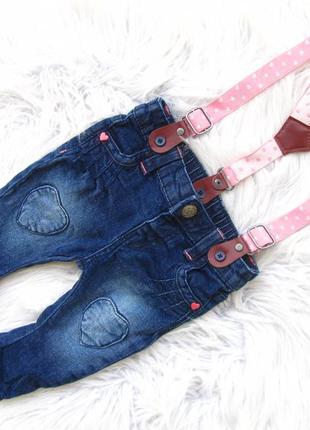 Стильные джинсы  штаны брюки на подтяжках hema