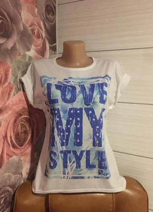 Стильная  футболочка-оверсайз, love my style,спинка удлиненная...