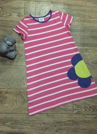 Фирменное  платье mini boden с цветком, на 7-8 лет ,хлопок!