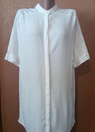 Короткое платье рубашка туника ажурная вышивка прошва свободно...