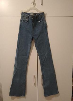 Синие джинсы topshop jamie flare,высокая посадка, высокая талия