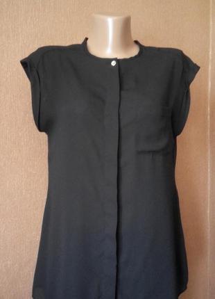 Шифоновая чёрная рубашка без рукавов размер 8-10 atmosphere