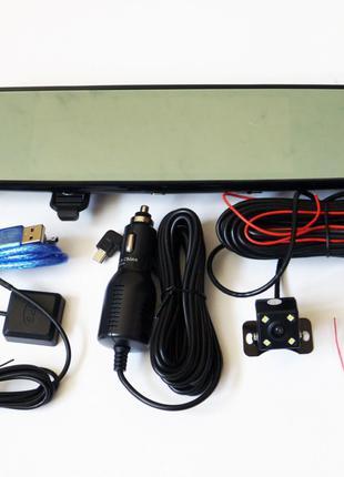 """DVR V17 Зеркало регистратор, 7"""" сенсор, 2 камеры, GPS навигатор"""