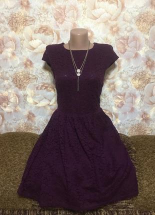 Обалденное кружевное платье с подкладкой,цвета баклажан от h&m