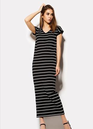 Трикотажное длинное  платье в пол в полоску от dorothy perkins