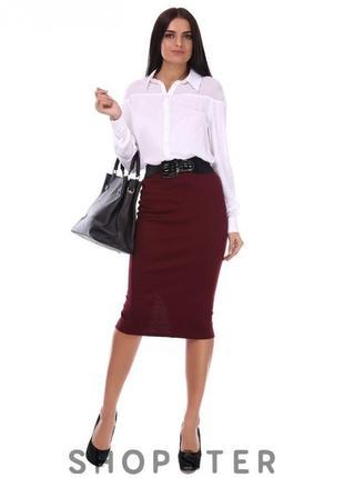 Бордовая офисная  юбка-карандаш  с  высокой талией от asos!кач...