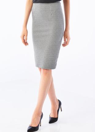Стильная юбка-карандаш в принт гусиные лапки с высокой посадкой