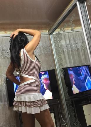 Красивое платье в морском стиле с открытой спинкой и бантом,48 р