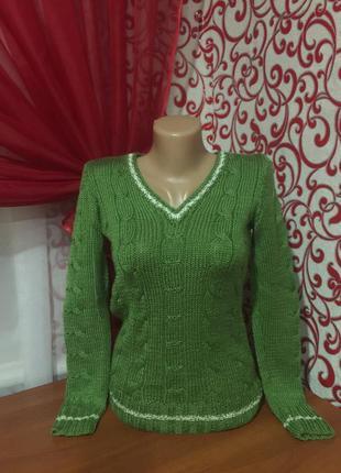 Молодежный красивый вязанный свитер,ручная работа,42\44 р