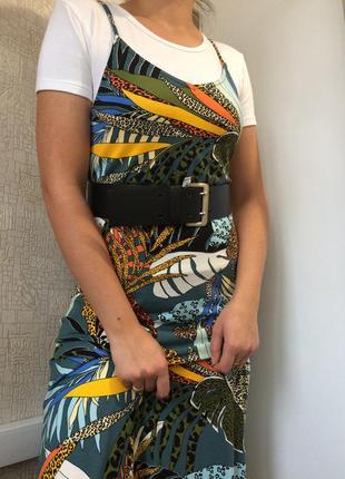 Вискозный макси сарафан/платье в тропический/анималистичный принт