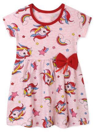 Платье для девочки, розовое. единорог и кометы.