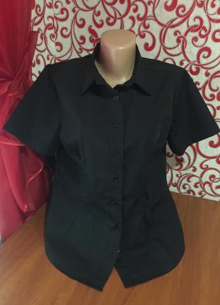 Офисная классическая черная рубашка с коротким рукавом smart wear