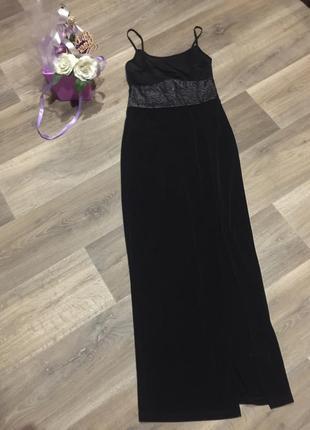 Обалденное  платье в пол с разрезом и дорогим кружевом на тонк...