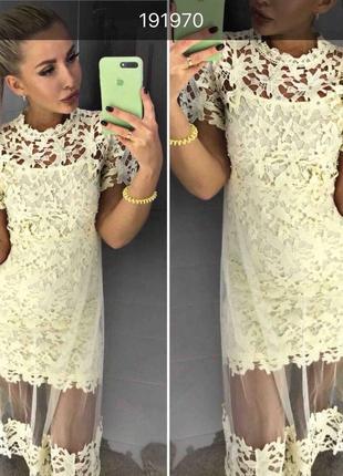 Элегантное, неотразимое, гипюровое женское платье с бусинками ...