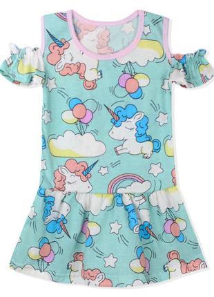 Платье для девочки, мятное. милые единороги.