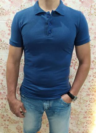 Мужская футболка поло, поло трикотаж, синяя футболка поло, пол...