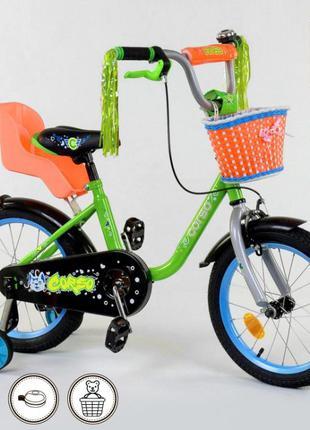 Двухколесный велосипед 4-6 лет с корзинкой и сиденьем для кукл...