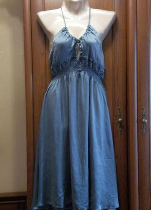 Легкое шелковое платье сарафан расшитый стеклярусом с вышивкой