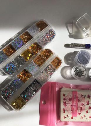 Набор декора для ногтей большой набор слайдеры блестки стемпинг