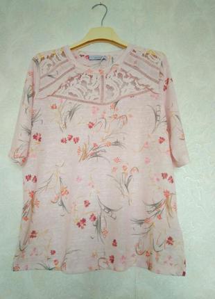 Шикарная блуза футболка кружево цветы нежно-розового цвета бре...