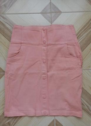 Персиковая юбка - карандаш длины миди. трикотажная юбка карандаш