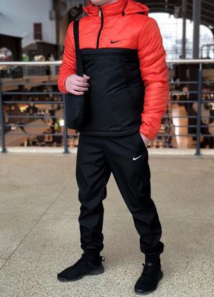 Анорак утепленный оранжево черный