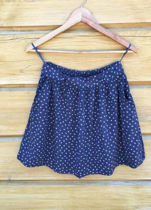Красивая вискозная юбка, свободная юбка синяя юбка в сердечки