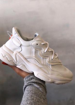 Adidas ozweego white leather кожаные кроссовки адидас в белом ...