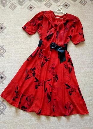 38-40р. шифоновое винтажное платье 90-х ссср