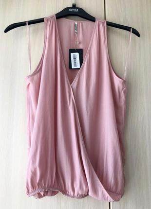 Розовая блуза с запахом stradivarius / m