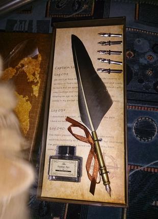 Набор для каллиграфии - ручка перо, сменные перья, чернильница