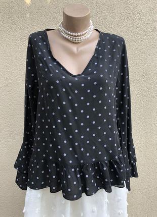 Чёрная,штапельная блуза в горохи,рюши,воланы,вискоза,этно бохо...