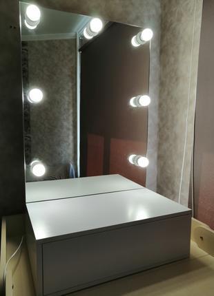 Гримерное Зеркало, зеркало с лампочками, зеркало с подсветкой