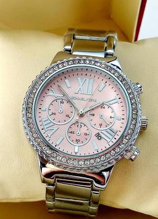 Женские часы michael kors, серебристого цвета, с розовым цифер...