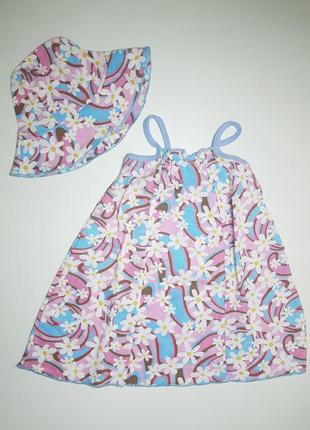 Детский сарафан с панамкой для девочки летний комплект на 3-4 ...